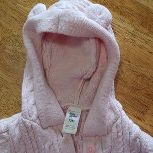 Baby B'gosh hooded pink cable knit sweater